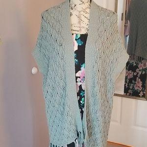 Seafoam green shawl/vest